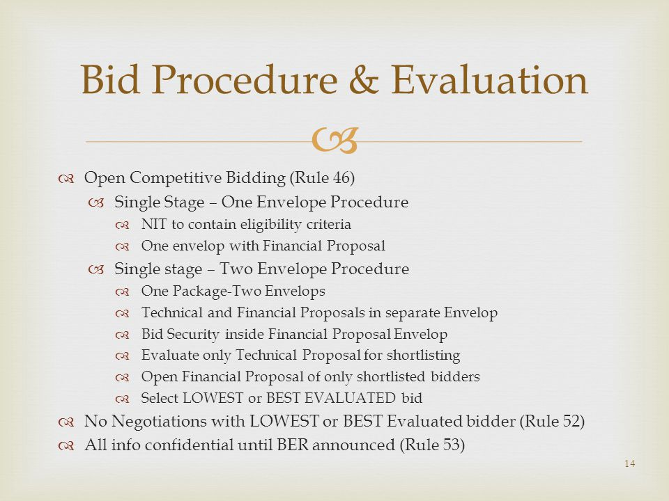 Bid Procedure & Evaluation