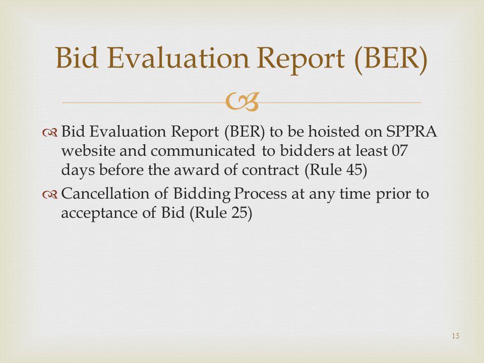 Bid Evaluation Report (BER)