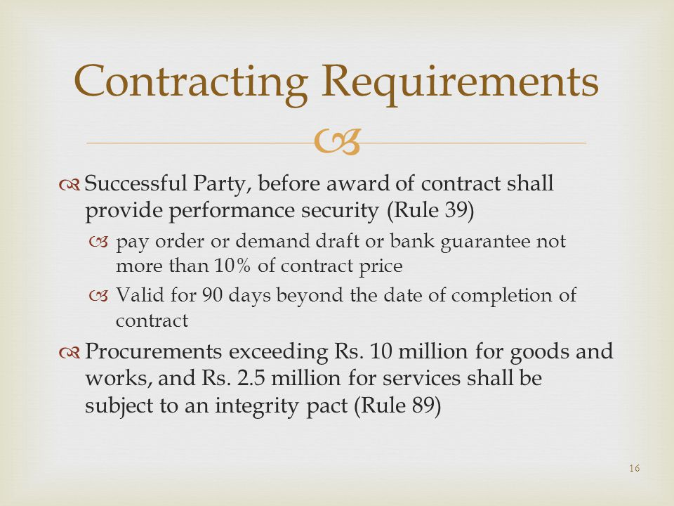 Contracting Requirements
