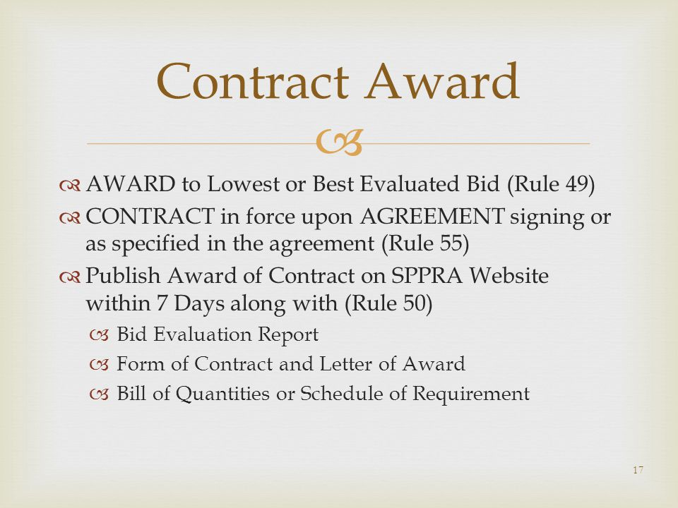 Contract Award AWARD to Lowest or Best Evaluated Bid (Rule 49)