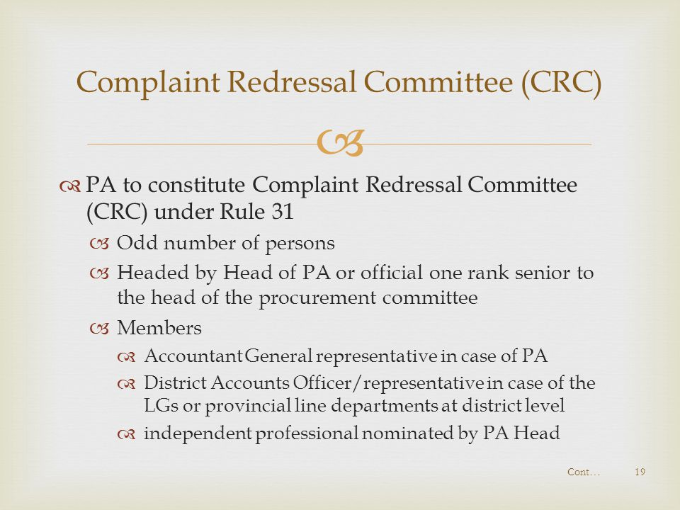 Complaint Redressal Committee (CRC)