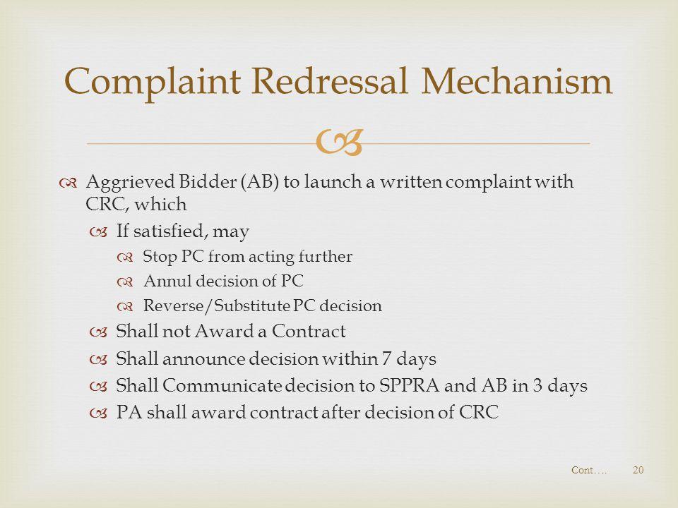 Complaint Redressal Mechanism