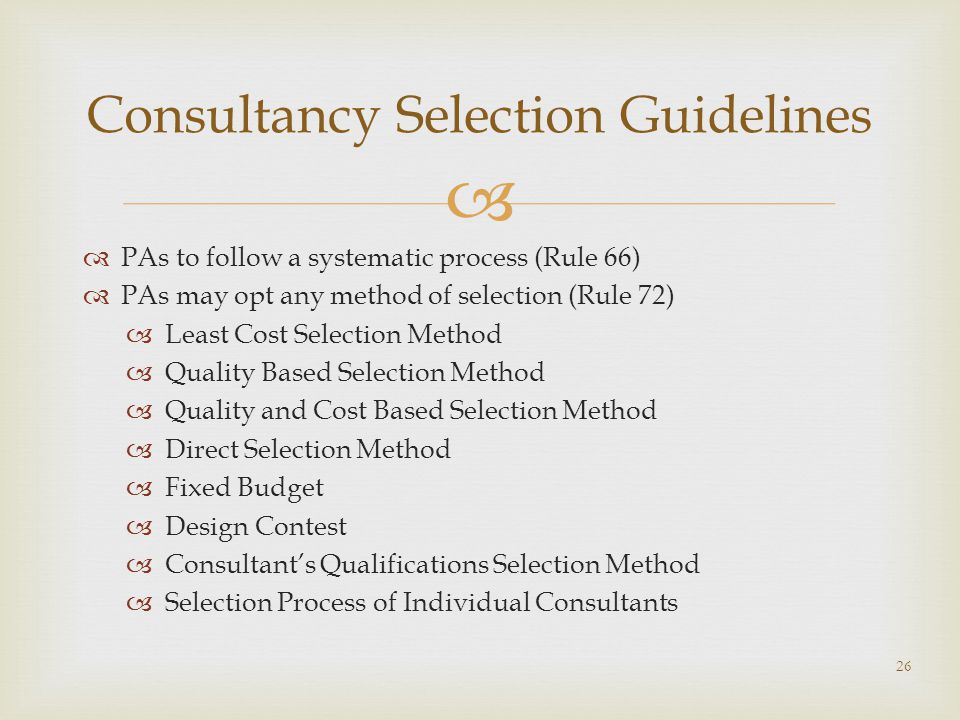 Consultancy Selection Guidelines