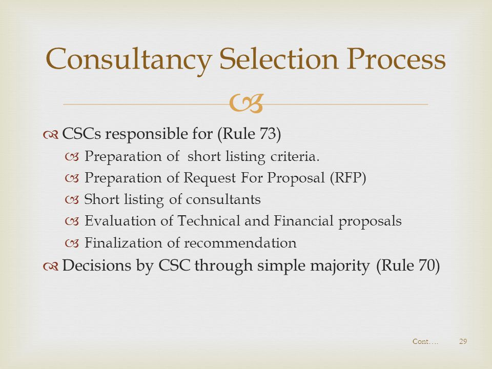 Consultancy Selection Process