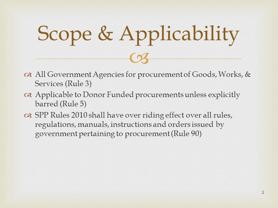 Scope & Applicability All Government Agencies for procurement of Goods, Works, & Services (Rule 3)