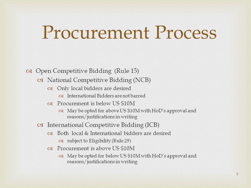 Procurement Process Open Competitive Bidding (Rule 15)