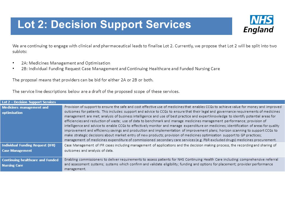 Lot 2: Decision Support Services