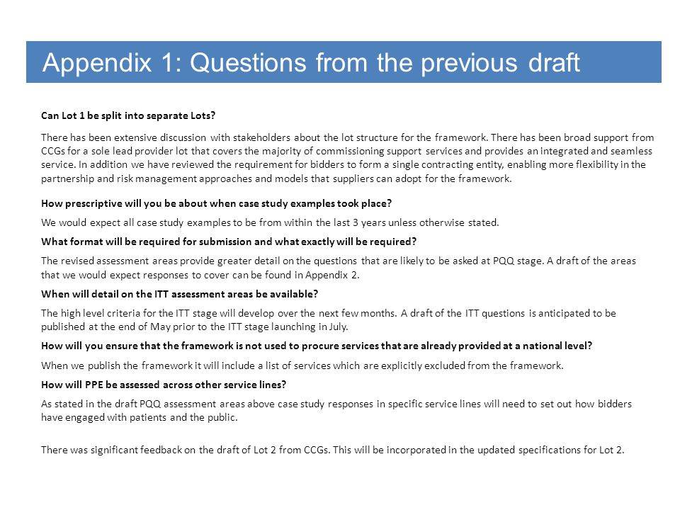 Appendix 1: Questions from the previous draft