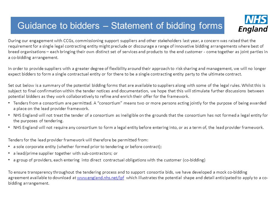 Guidance to bidders – Statement of bidding forms