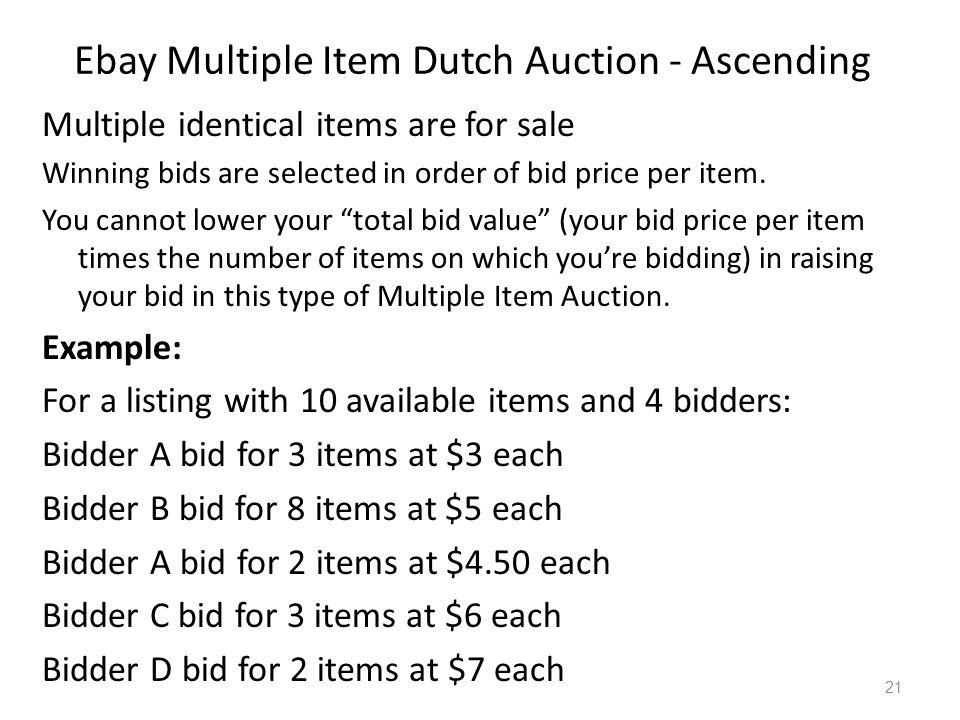 Ebay Multiple Item Dutch Auction - Ascending