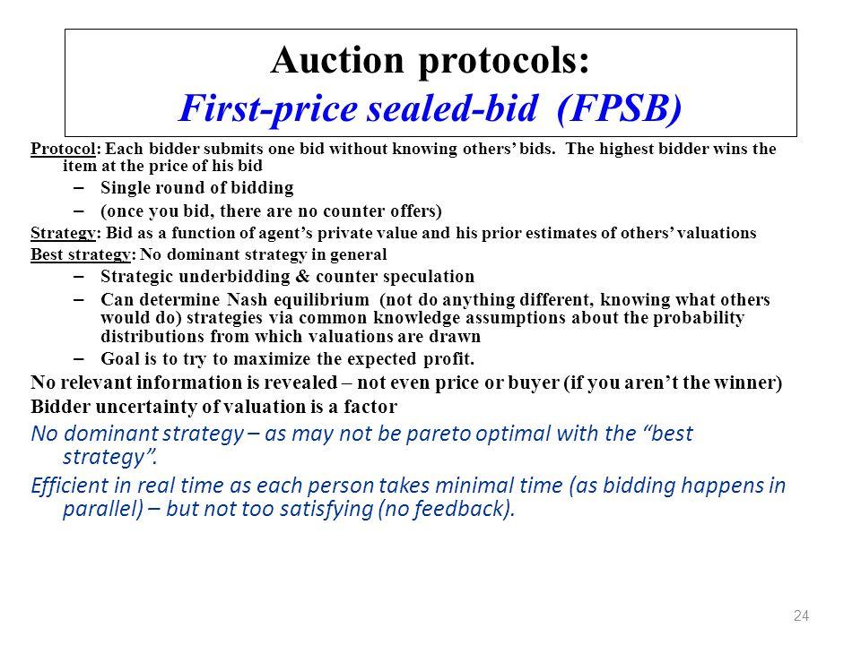 Auction protocols: First-price sealed-bid (FPSB)