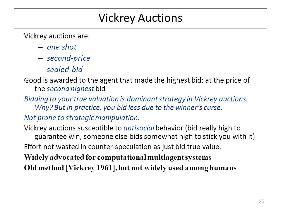 Vickrey Auctions one shot second-price sealed-bid