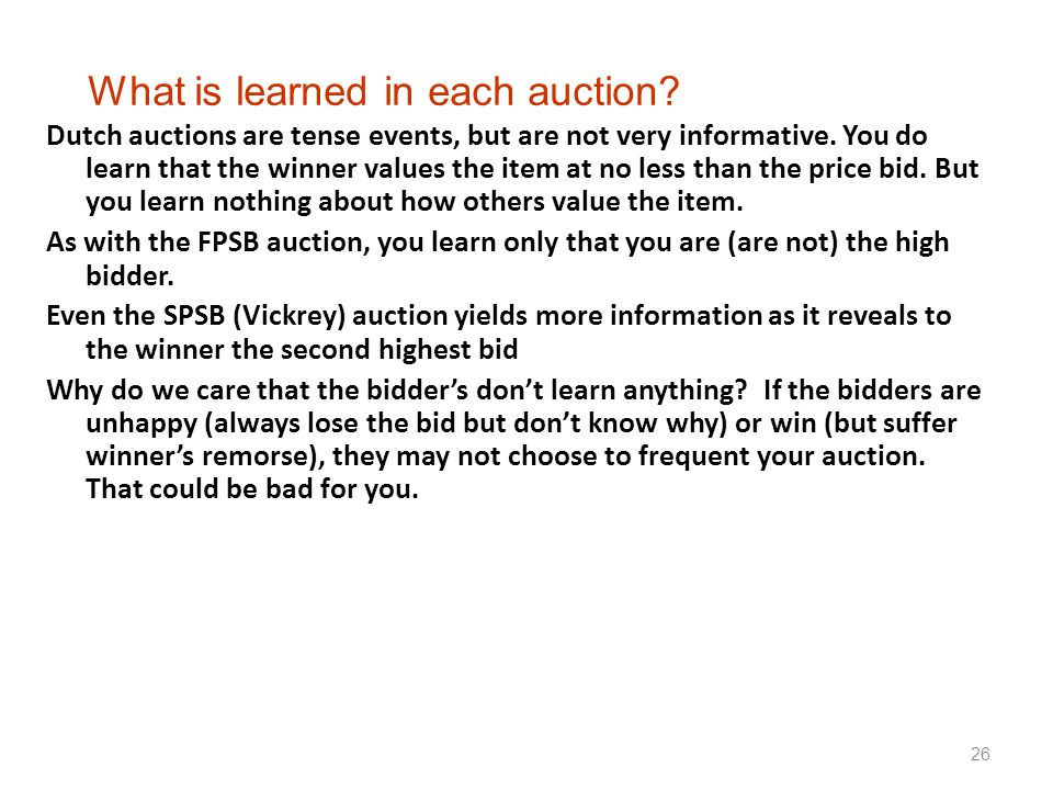 What is learned in each auction