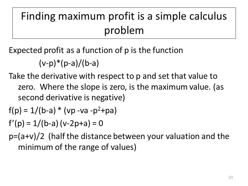 Finding maximum profit is a simple calculus problem