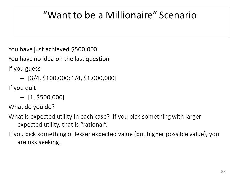 Want to be a Millionaire Scenario
