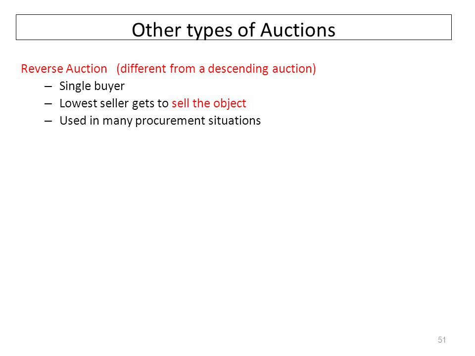 Other types of Auctions