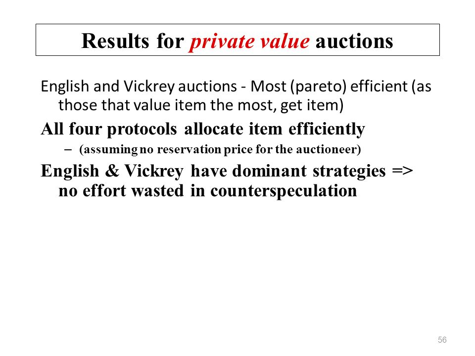 Results for private value auctions