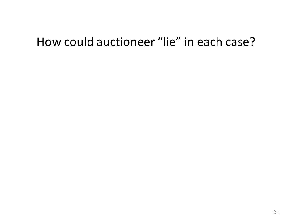 How could auctioneer lie in each case