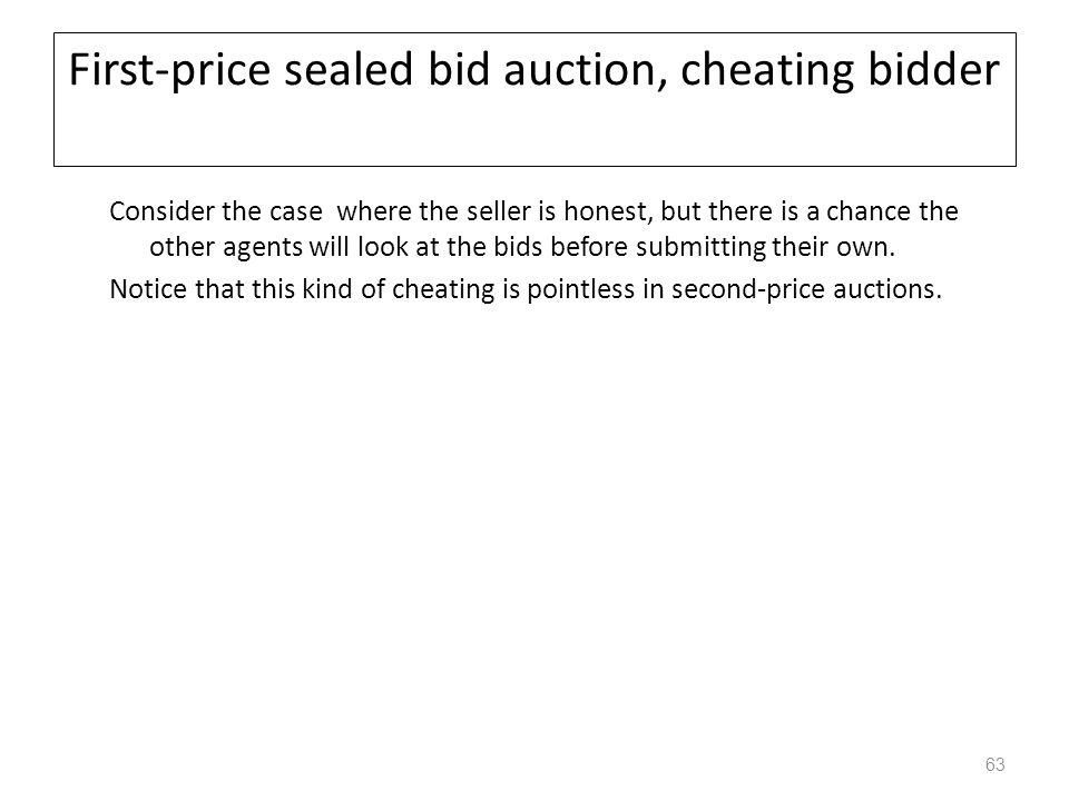 First-price sealed bid auction, cheating bidder