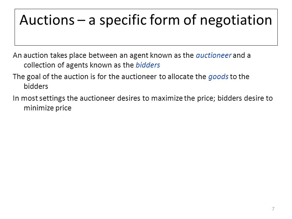 Auctions – a specific form of negotiation