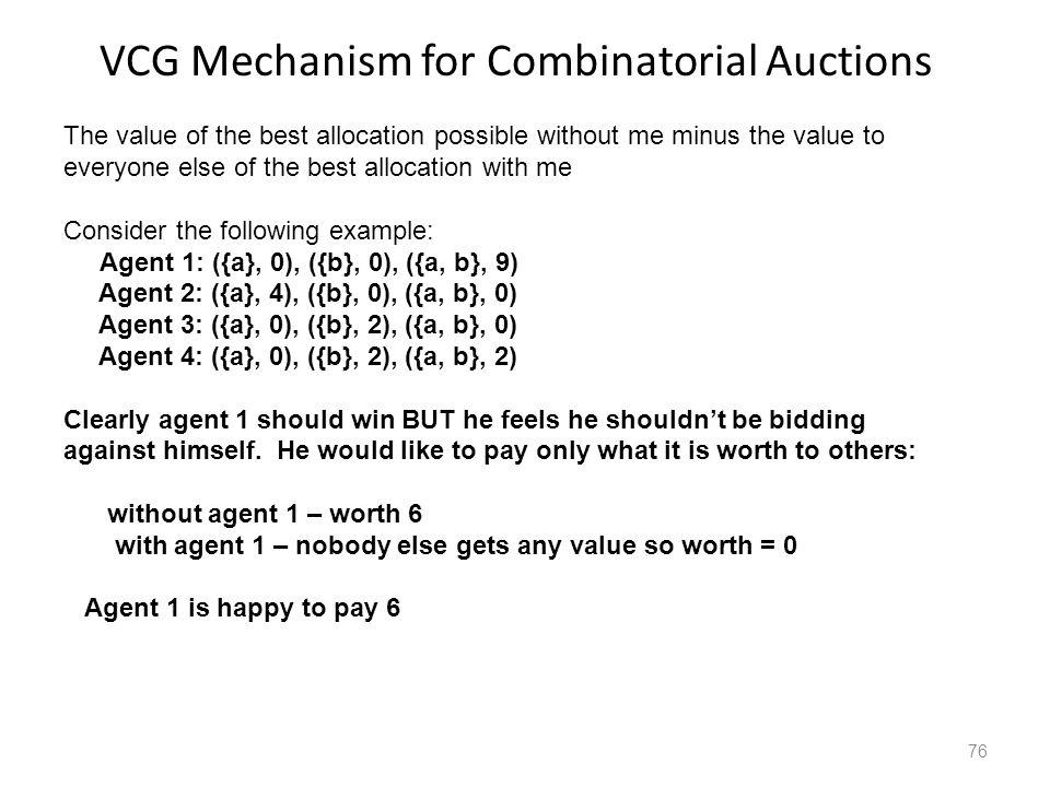 VCG Mechanism for Combinatorial Auctions