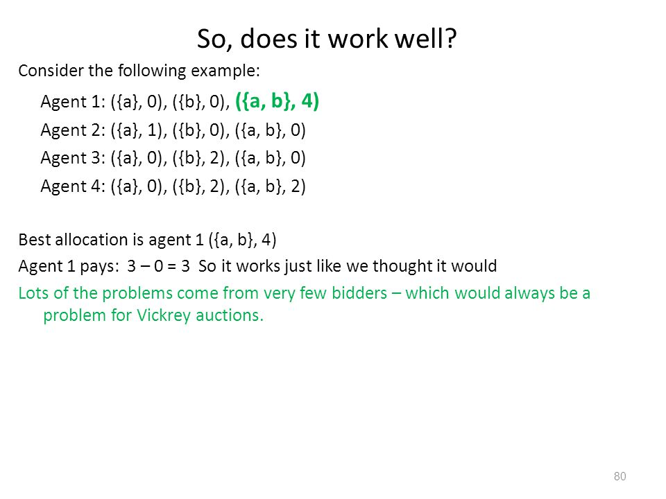 So, does it work well Agent 1: ({a}, 0), ({b}, 0), ({a, b}, 4)