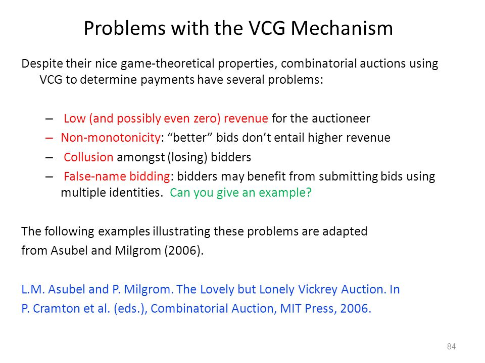 Problems with the VCG Mechanism