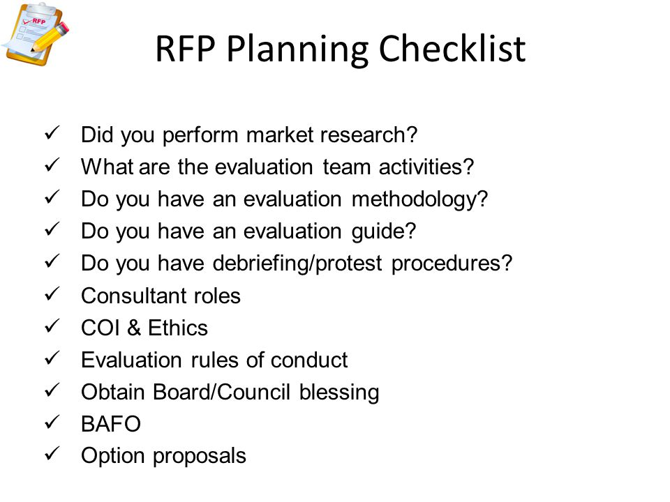 RFP Planning Checklist