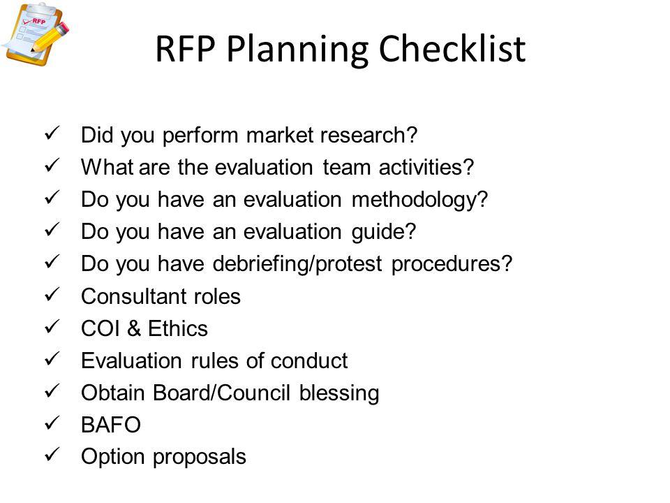 RFP Planning Checklist