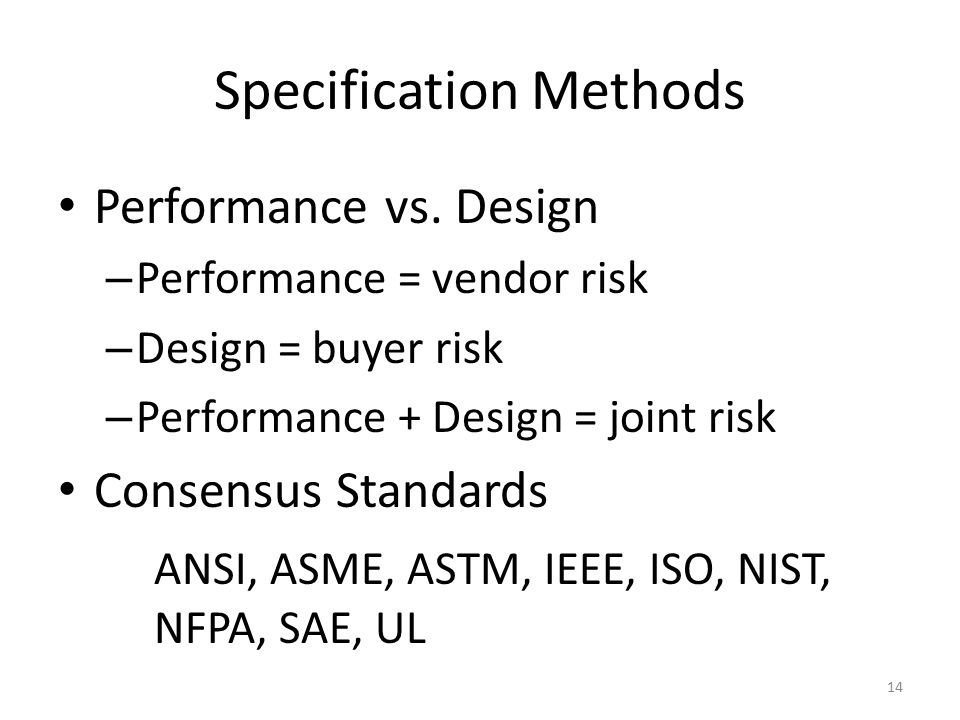 Specification Methods