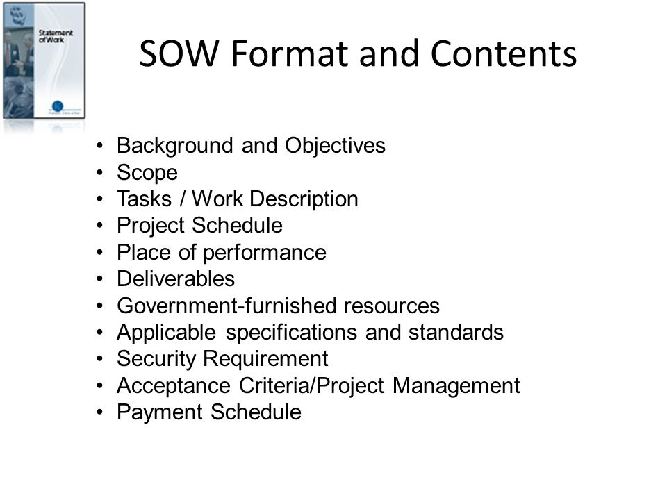 SOW Format and Contents