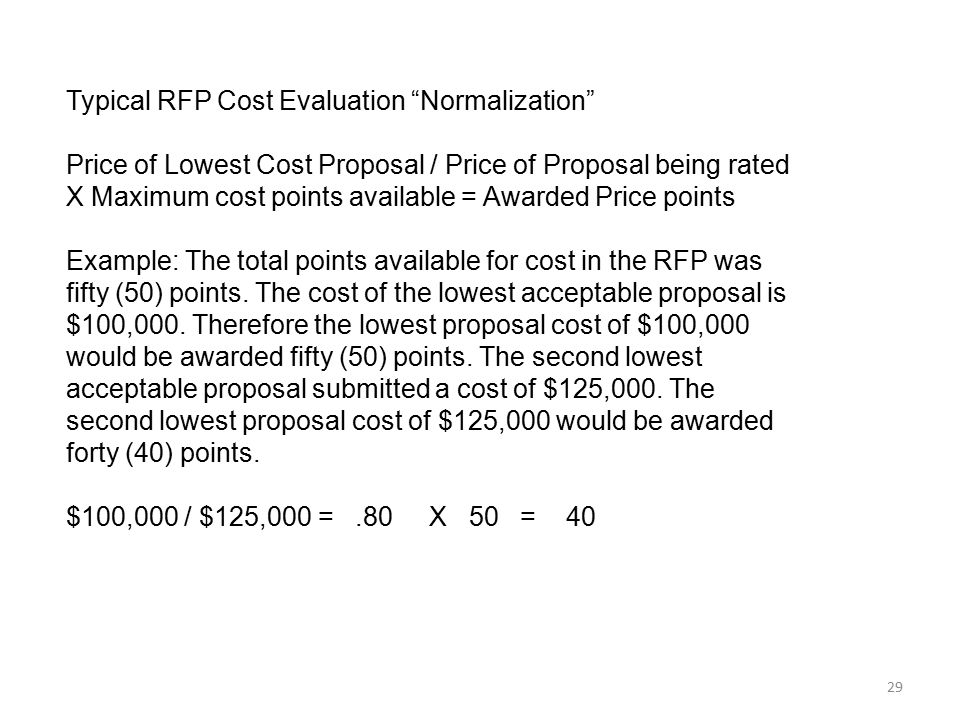 Typical RFP Cost Evaluation Normalization