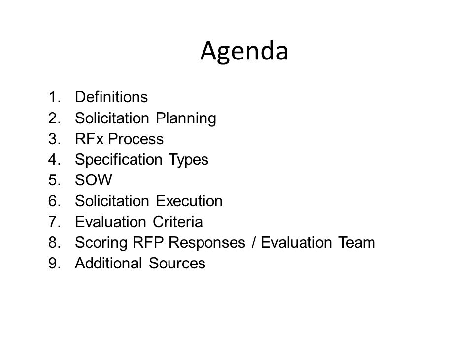 Agenda Definitions Solicitation Planning RFx Process