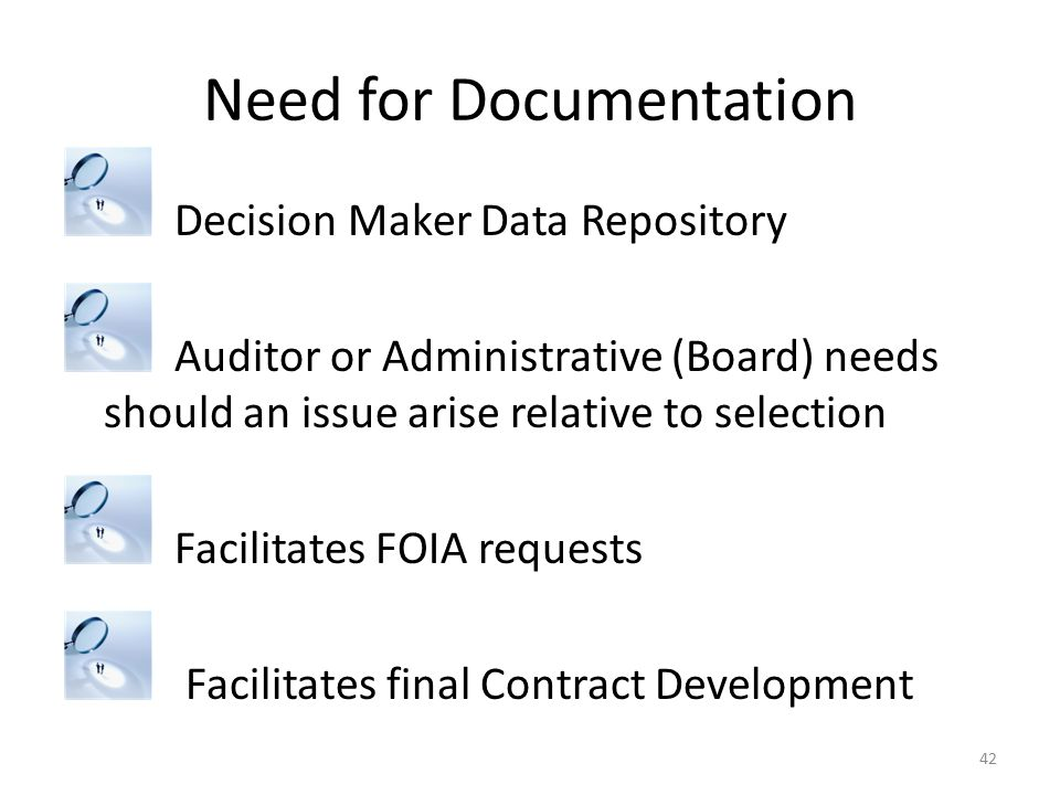 Need for Documentation