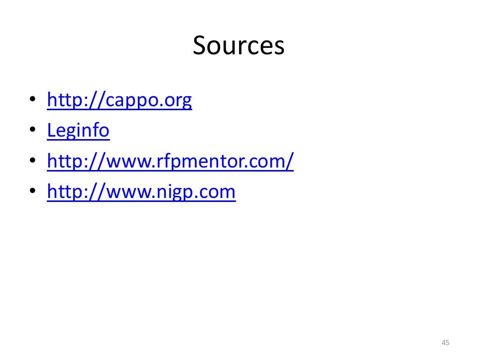 Sources http://cappo.org Leginfo http://www.rfpmentor.com/