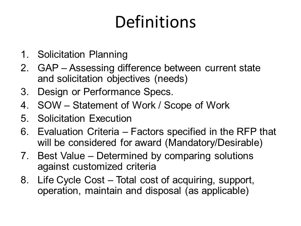 Definitions Solicitation Planning
