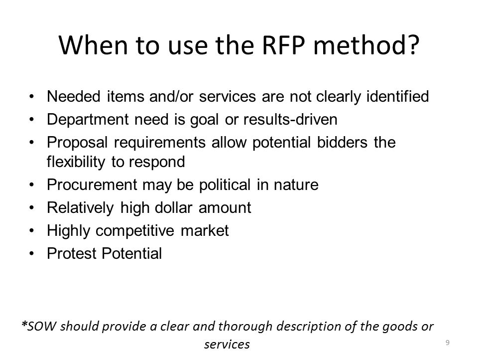When to use the RFP method