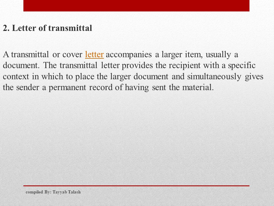 Chapter five Business proposal compiled By Tayyab Talash ppt – Example of Transmittal Letter