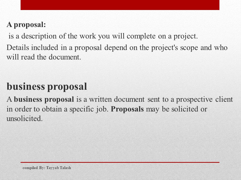 business proposal A proposal: