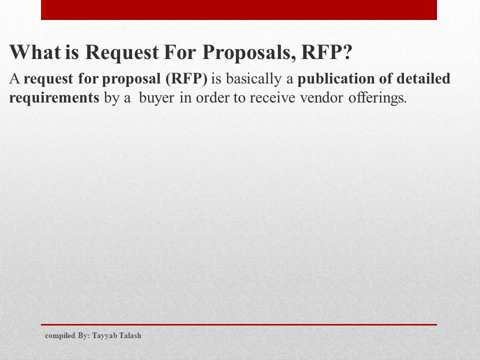 What is Request For Proposals, RFP