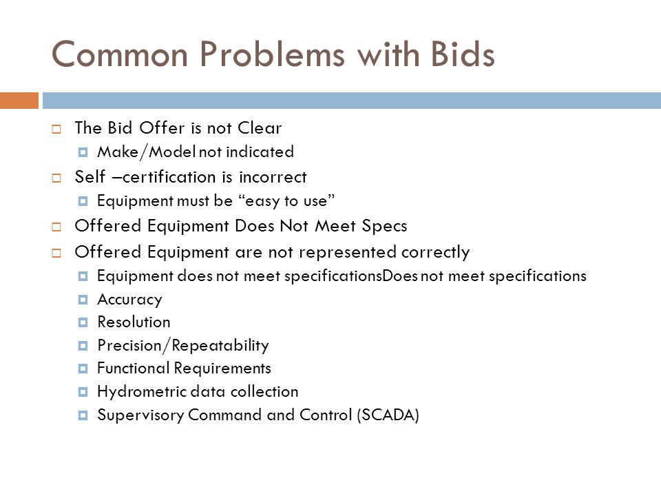 Common Problems with Bids