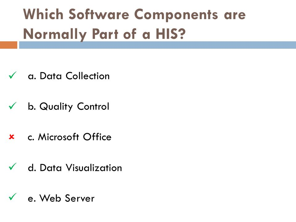 Which Software Components are Normally Part of a HIS