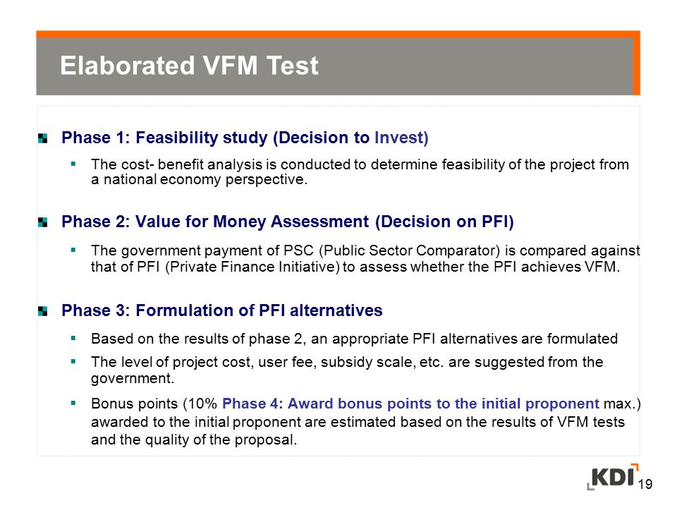 Elaborated VFM Test Phase 1: Feasibility study (Decision to Invest)