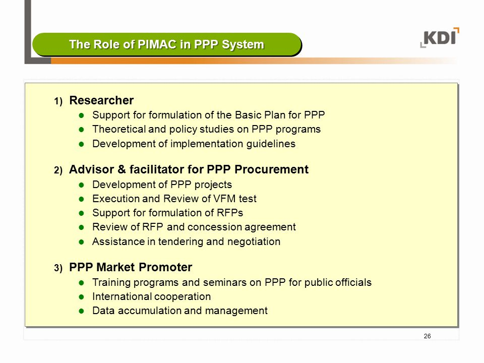 The Role of PIMAC in PPP System