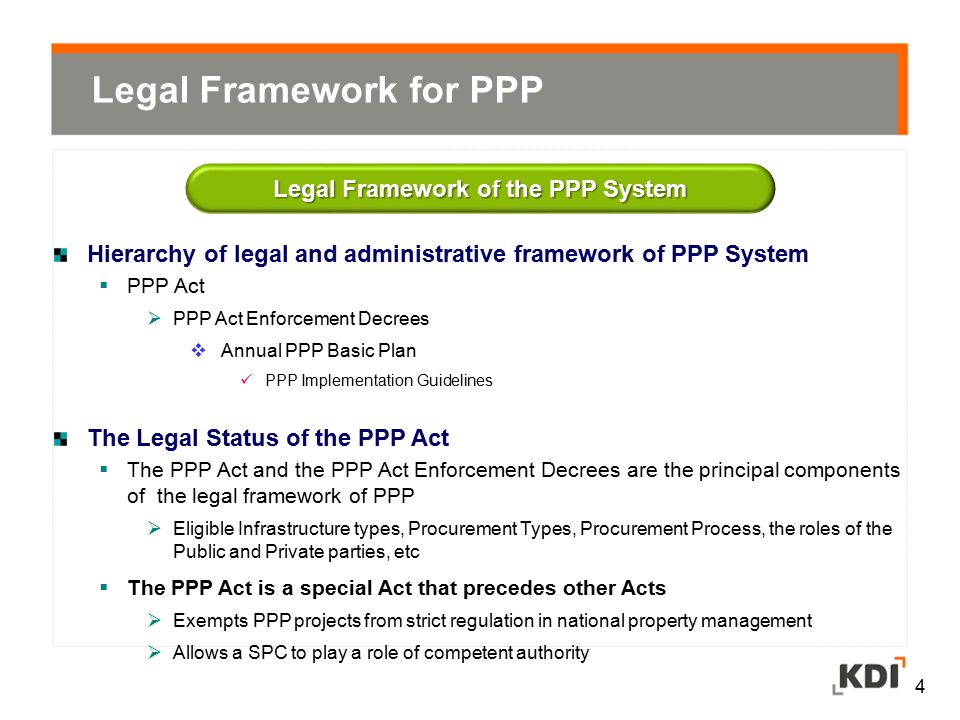 Legal Framework of the PPP System