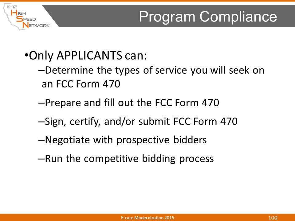 Program Compliance Only APPLICANTS can: