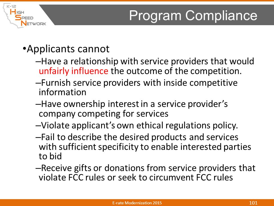 Program Compliance Applicants cannot