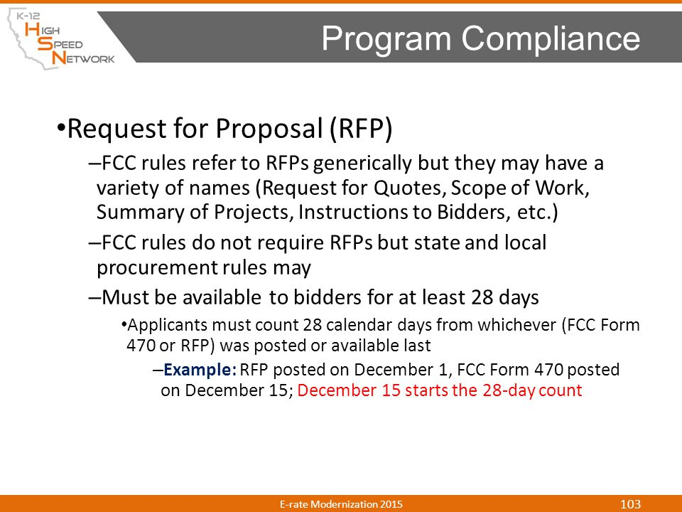 Program Compliance Request for Proposal (RFP)