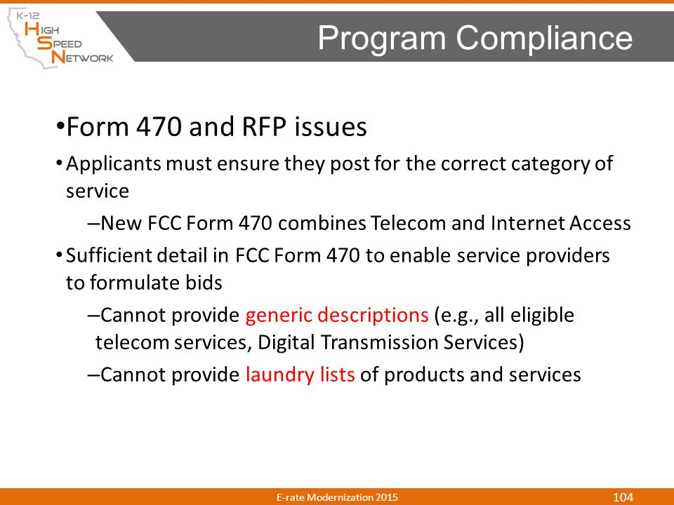 Program Compliance Form 470 and RFP issues