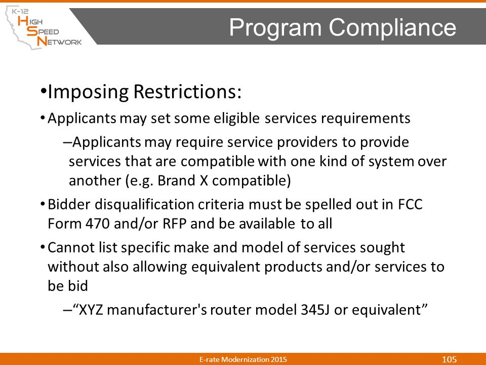Program Compliance Imposing Restrictions: